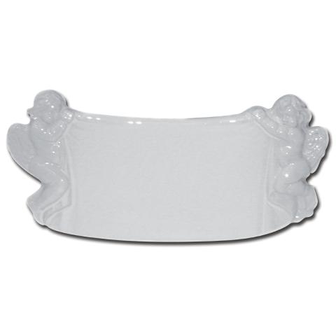 Photo Porcelaine – Représentation de la photographie du défunt sur un support porcelaine parchemin-decor-anges